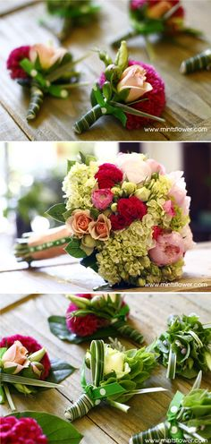 Mintish dots by Mints Design I San Francisco Bay Area Wedding Flowers and Design | pink wedding
