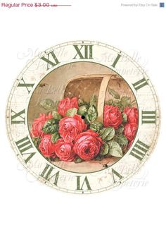 40% OFF SALE Clock-DIY Clock Face with Vintage Image Of Red Roses in a Basket