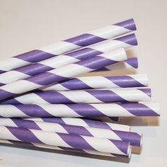 25 Purple Striped Paper Straws Party Straws by LolaLovesAparty, $4.50