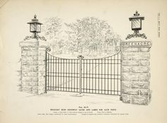 Wrought iron driveway gates and lamps for gate posts