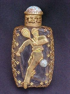 Rare Czech Art Deco Stylized Tennis Player Mini Perfume Bottle, 1930s.