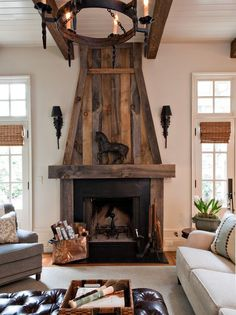 Traditional family room featuring a wood and cast iron fireplace