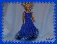 Puppenkleidung - Abendkleid mit weitem Rock für Barbie ** blau - ein…