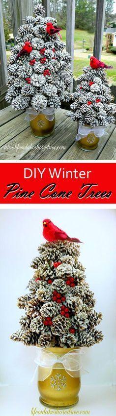 Flecked Pine Cone Topiary Trees