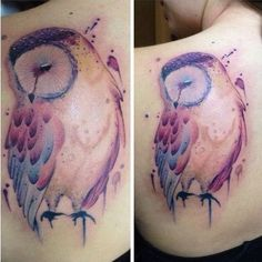 Watercolor Owl Tattoo on Back. More via http://forcreativejuice.com/attractive-owl-tattoo-ideas/