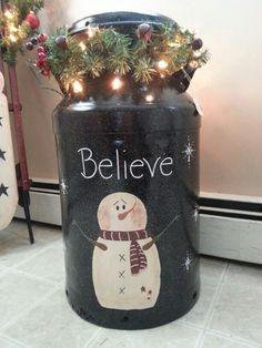 Believe snowman antique milk can $60