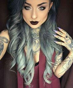 I have a girl crush on Ryan Ashley Hair Color Purple, Green Hair, Brown Hair Colors, Blue Hair, Black To Grey Ombre Hair, Purple Ombre, Color Black, Hair Streaks, Hair Highlights