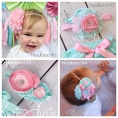Aqua Lace Diaper Cover Pink Bow Pink Chiffon por KutieTuties