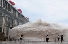 Water is released at the Three Gorges Dam on the Yangtze, China.... Wow!