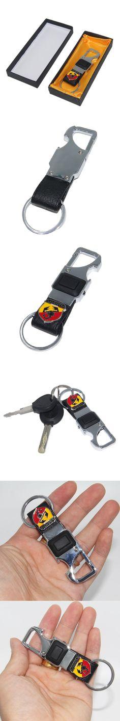 KUNBABY 1PCS Leather+Metal Car Keychain Keyring Key Ring Chain for FIAT Abarth 500 Punto Stilo Freemont Bravo Car Key Holder