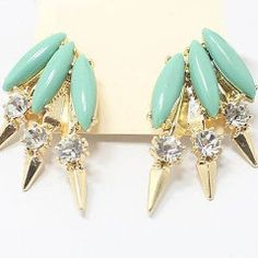 Eye-catching classy gold tone stud earrings, set with elongated blue/green turquoise and clear circular crystal style faux gemstones. For pierced ears.