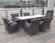 rattan aluminium furniture 6 seat dining set in grey modern furniture deals