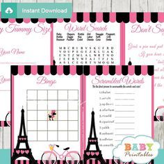 pink paris eiffel tower baby shower word search game printable puzzles baby shower pinterest. Black Bedroom Furniture Sets. Home Design Ideas