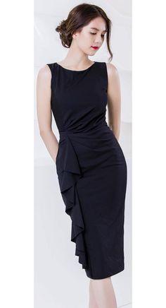 Đầm ôm body ngọc trinh đính dún bèo dọc thân màu đen