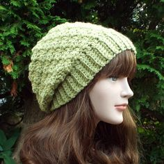 Light Green Slouchy Hat  Womens Slouch by ColorMyWorldCrochet