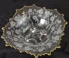 Vintage Cambridge Glass Blossom Time Martha Etched Console Bowl, 4 Toed, Flared #CambridgeGlass