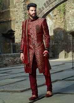 PA Perfect Wedding Suit For A Strong Personality In Maroon Colour Which Symbolizes
