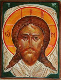 tomasz biłka op, Mandylion (na podstawie ikony o. Grigorija Kruga), tempera na drewnie, 19x25cm, 2008, dla Wojtka Bala.