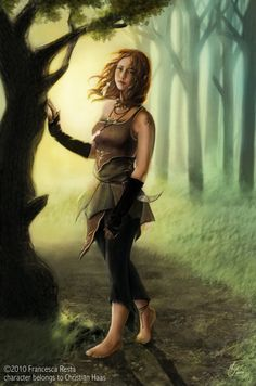 """"""" Aela is a half-elf druid, a child of the Nature.     Her smile is sweet, and she is young for elven standards, but she knows some secrets that no one else share."""""""