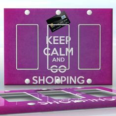DIY Do It Yourself Home Decor - Easy to apply wall plate wraps | KEEP CALM AND GO SHOPPING Purple background with credit card wallplate skin sticker for 3 Gang Decora LightSwitch | On SALE now only $5.95