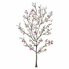"""Create a whimsical focal point in your foyer or den with this delightful wall decal, showcasing a cherry blossom tree in pink. Made in the USA.  Product: Wall decalConstruction Material: VinylColor: Pink and brownFeatures:  Made in the USARemovable and repositionableDimensions: 65"""" H x 38"""" W"""