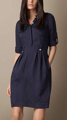 Burberry, womens blue heritage tulip dress ❤️Welcome to join BeautyCode FB CommunityBurberry Heritage Tulip Dress: love the shirt/skirt/dress look, love the tulip shape, love the details and buttons Love the ease and simple design of this dress. Casual Dresses, Casual Outfits, Fashion Dresses, Winter Dresses, Simple Dresses, Burberry Dress, Tulip Dress, Tulip Skirt, Navy Dress