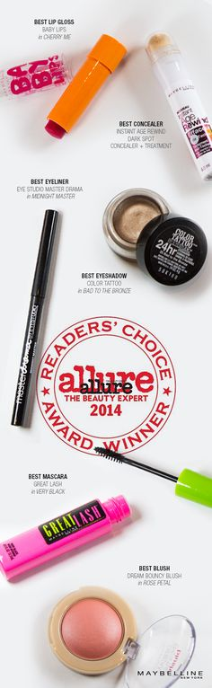 Thanks for the love, born with it babes.  Introducing 2014 Allure readers' choice winners.  Maybelline makeup must haves tested and loved.  Everything from lip balm, concealer, mascara to blush to complete your everyday look.