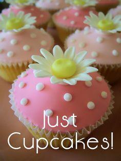 Pink Daisy Cupcakes- angelversary or fundraising walk Daisy Cupcakes, Polka Dot Cupcakes, Pretty Cupcakes, Beautiful Cupcakes, Tea Cupcakes, Amazing Cupcakes, Cupcake Icing, Fondant Cupcakes, Cupcake Cookies