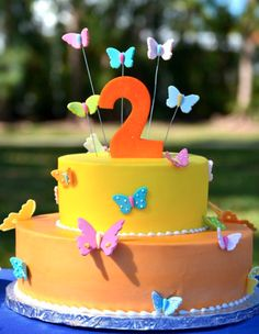 Angie's 2nd Birthday butterfly theme cake. So sweet!