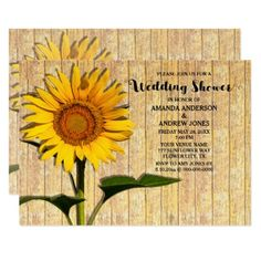 #wood - #Sunflower And Wood Wedding Shower Invitation