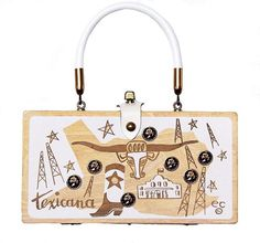 """Enid Collins of Texas """"texicana"""" box bag. A petite bag in white - notice all the symbolism - Longhorn cattle, oil rigs, Capitol building, cowboy boots - of the Lone Star state!#enidcollinsoftexas #enidcollims #collinsoftexas #vintagepurse #vintagestyle #texas #1960s"""