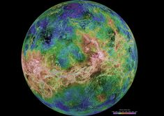 The hemispheric view of Venus, as revealed by more than a decade of radar investigations culminating in the 1990-1994 Magellan mission, is centered at 180 degrees east longitude. The Magellan spacecraft imaged more than 98 percent of Venus at a resolution of about 100 m; the effective resolution of this image is about 3 km.