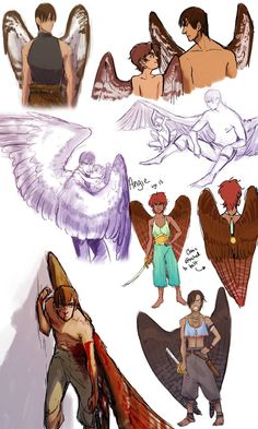 OC dump time by nebluus on DeviantArt ( wings, poses, references, Connor ) Fantasy Kunst, Fantasy Art, Wings Drawing, Bird People, Animation, Character Design Inspiration, Deviantart, Mythical Creatures, Fantasy Characters