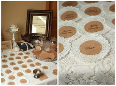 really love the doily and brown paper vintage theme bridal shower bridal shower signs