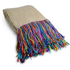 Rainbow Fringe Throw ($79) ❤ liked on Polyvore featuring home, bed & bath, bedding, blankets, multi colored bedding, rainbow bedding, rainbow throw, colorful throws and colorful bedding
