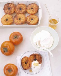 When fully ripe, persimmons have a glossy red-orange skin, similar to tomatoes, and a tangy-sweet flavor. They are available at most markets from October through March; choose fruit that is plump and slightly soft but not at all mushy.