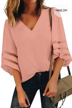 Pink Top Outfit, Blush Pink Top, Kids Frocks, Loose Tops, Mesh Panel, Ankle Strap Heels, Nice Tops, Casual Chic, Casual Looks