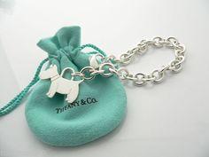 Tiffany Co Silver Scottie Terrier Dog Charm Pendant Bracelet Bangle 8 25 Inch | eBay