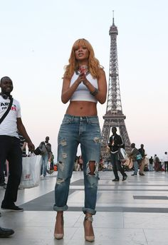 Rhianna in Paris not a basic bitch, must copy this look with my boyfriend jeans in the summer