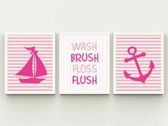 Nautical bathroom wash brush floss flush by HappyPrintCreations