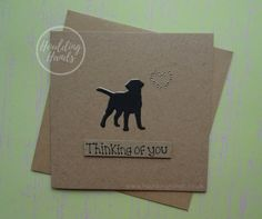 Unique Dog sympathy card with a Labrador: Thinking of you card for the death of a pet.  This handmade with sympathy card for the loss of a Labrador uses recycled Kraft card and has a Labrador silhouette (or Black Labrador) with gems in the shape of a heart. The colour of the shadow of the dog and the gems can be selected from the drop-down menu. The sentiment on this dog condolences card is added with 3D foam and reads: Forever in your heart  PERSONALISING YOUR CARD: You can choose the…