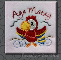 Pirate Parrot Aye Matey Beach Seagull Machine Embroidery Design Digital Applique Pattern INSTANT DOWNLOAD Lake Ocean Sea Nautical Boy Girl by PersonalLife on Etsy