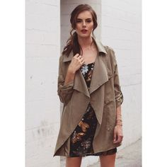 Ruche Along The Thames Draped Jacket In Green (86 CAD) ❤ liked on Polyvore featuring outerwear, jackets, green, green jacket, ruched jacket, oversized jacket, draped jacket and light weight jacket