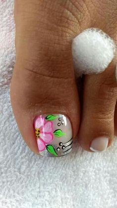 Flor Elegant Nail Designs, Beautiful Nail Designs, Pedicure Designs, Toe Nail Designs, Pretty Toe Nails, Cute Nails, Toe Nail Art, Nail Art Diy, Airbrush Nails