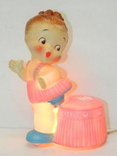 Vintage Toy Lamp 1959 Little Miss Muffett Rubber Lamp by Alan Jay Nursery Rhyme