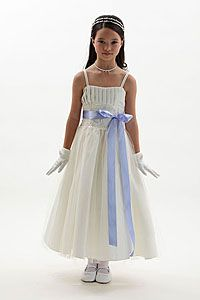 Flower Girl Dresses -Flower Girl Dress Style 2009-Satin and Tulle Dress with Beaded Trim and Changeable Sash