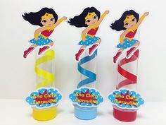 Tubetes Mulher Maravilha Wonder Woman Birthday, Wonder Woman Party, 5th Birthday, Birthday Parties, Hero Girl, Party In A Box, Holidays And Events, Event Decor, Party Themes