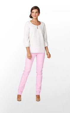 Telyn Top! love the crisp white eyelet! and they are with my favorite jeans! love this entire outfit!