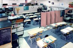 Screenflex temporary walls help create needed classrooms during a school construction project. | Screenflex Portable Partitions #portablewalls #roomdivider  See it @ screenflex.com
