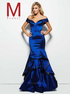 This striking royal blue off the shoulder Mac Duggal gown would look perfect next to a fresh slate of snow. Pop of color.  48189M | Mac Duggal